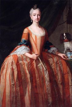 1758-1759 Infanta Maria Josefa de Borbon with fan and cup of chocolate by Giusseppe Bonito