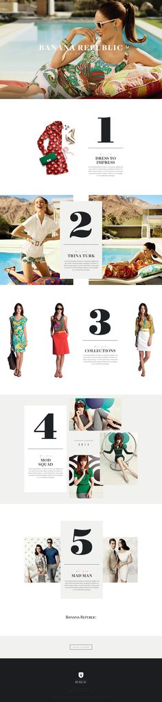 Banana Republic online Magazine, Digital editorial design, long scroll, web design, typography