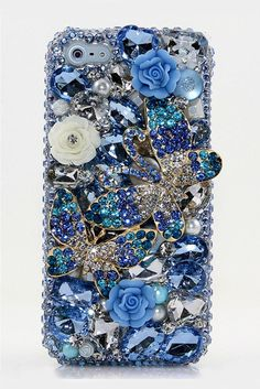 Spring Blue Double Butterfly bling phone case design - Protective Bling Samsung galaxy s3 s4 s5 s6 edge phone cases glitter blue luxury phone covers for women.  http://luxaddiction.com/collections/3d-designs/products/spring-blue-double-butterfly-design-st