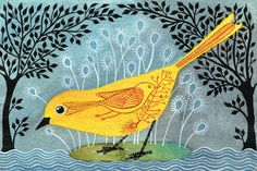 All of Geninne's paintings are so sweet. Love. (New category: Put a bird on it.)