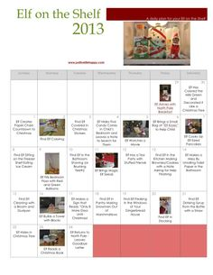 {Printable} 2013 Elf on the Shelf Calendar from Just Live Life Happy
