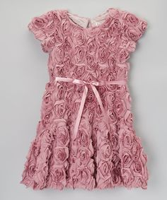 This Dusty Rose Bouquet Flare Dress - Girls by Halabaloo is perfect! #zulilyfinds