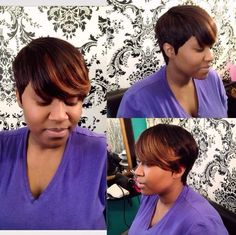 short hairstyle with highlighted bangs