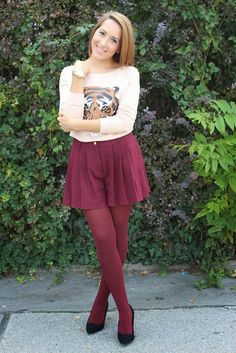 """King of the Jungle -  As first seen on blog """"Sleepless In HighHeels"""" here: King of the Jungle  She is wearing tights similar here: Burgundy Opaque Tights Complete your look with sultry style in these slimming tights! Opaque tights with shaping control top and contoured compression points. Elastic waistband.  #tights #pantyhose #hosiery #nylons #tightslover #pantyhoselover #nylonlover #legs"""
