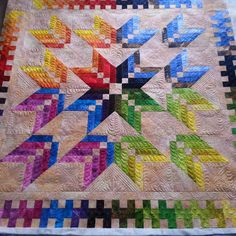 """81 Likes, 18 Comments - Jane Hauprich (@janestitchbystitch) on Instagram: """"Customer quilt returned yesterday. This is the Missouri Star Binding Tool Star Quilt. What a…"""""""