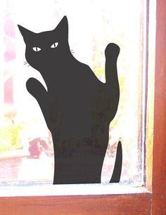 Cat Wants In Black Cat Wall or Window Sticker Decal by jolyonyates, $28.95