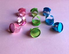9 Colored Ring Bases / Blanks round 20mm by GirlySuppliesDeJaVu, $11.50