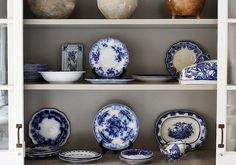 Lovely collection of blue and white porcelains by interior designer Darryl Carter.