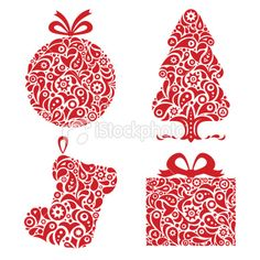 Set of Christmas ornamental symbols: Christmas tree, stocking, gift Red Christmas Ornaments, Christmas Balls, Xmas, Christmas Tree, Christmas Snowflakes, Christmas Wallpaper, Mail Art, Free Vector Art, Red And White