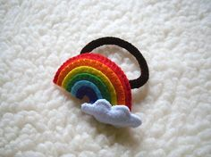 Felt Hair Bobble Cloud and Rainbow by LuluLyna on Etsy, $9.90