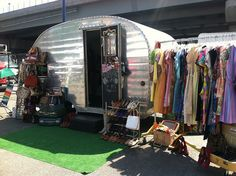YES!!!! This mini airstream trailer is actually a market booth filled with amazing vintage clothes and beautiful signage.   Haberdash Mobile Shop by amalinny, via Flickr