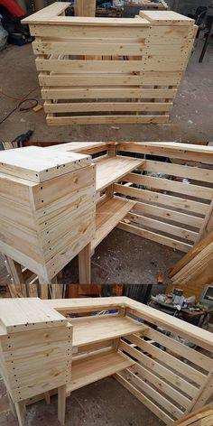 Idéia contadora de madeira pallet decente Pallet Art, Diy Pallet Projects, Pallet Ideas, Recycled Pallets, Wood Pallets, Bar Made From Pallets, Home Bar Designs, Wooden Counter, Pallet Furniture