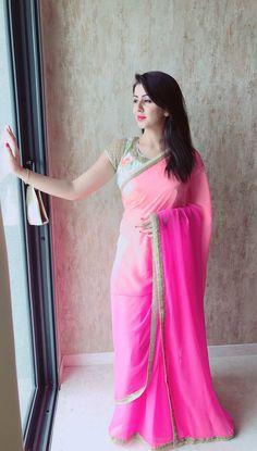 Nikki Galrani In Spicy Transparent Pink Saree - Actress Doodles Beautiful Girl Indian, Beautiful Saree, Beautiful Indian Actress, Beautiful Women, Pink Half Sarees, Pink Saree, Saree Hairstyles, Saree Poses, Indian Designer Wear