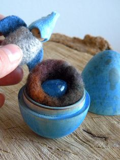Blue Bird Playset in wooden egg, Waldorf, Blue Bird, gray, blue, brown nest, stone egg, Upcycled wool felt, wood, eco toy