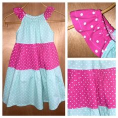 Polka Dot Cotton Summer Dress, girls size 8 by SewMeems on Etsy