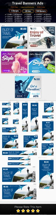 Travel - Vacation Web Ad Marketing Banners 02 - Banners & Ads Web Elements Download here : https://graphicriver.net/item/travel-vacation-web-ad-marketing-banners-02/19647302?s_rank=48&ref=Al-fatih