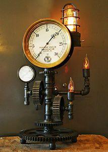 Steampunk Brass Steam Gauge Gears Lamp Machine Age Industrial Art Gear Light | eBay