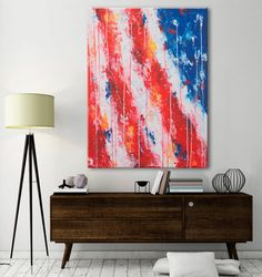 Extra large Abstract Painting-4th of July-Large by ElenasArtStudio