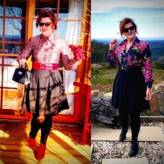 Styling my 70's Vintage Blouses! 🥰🤗💕 · Donna Does Dresses Fast Fashion, Fashion Wear, Short Leather Jacket, Red Belt, Cute Jackets, Blouse Vintage, Black Tights, Style Me, High Waisted Skirt