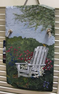 There aren't too many things more relaxing than sitting under a tree on a warm summer night. You can almost feel the breeze blowing through your hair while admiring this acrylic slate art painted by Melody Mead. This is just one of many scenes that Melody has available at Main Street Artisan's Co-op in Sheffield. Her slate art paintings sell for as little as $8.00 up to $60.00  Besides slate art, Melody also has pottery from $8.00 - $40.00 and bass wood animal paintings from $25.00 - $50.00…