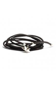 Silver Stud Star Wrap Around Bracelet in Black from the Tomasz Donocik Collection http://www.hervia.com/silver-stud-star-wrap-around-bracelet-black-p9013 #Hervia #Leather #Accessorize #AW13 #Jewelry #TomaszDonocik #Silver #Star