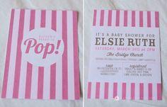pink popcorn ready to pop baby shower striped popcorn bag invitation
