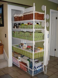"Rolling Pantry, This was an odd closet under the stairs that was difficult to use.  Its 4 feet deep by about 20 inches - too deep for shelves to be practical!  Anyway, we bought this rolling cart from The Container Store and it holds all of my baking, canned goods, etc. and is accessible from all sides, so nothing is ever out of reach or gets ""pushed to the back""."