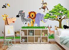 Wandtattoo Fürs Kinderzimmer, Baby. Sticker Aufklebr Tiere, Safari - SDB1 (XL - 175 x 98 cm): Amazon.de: Baumarkt