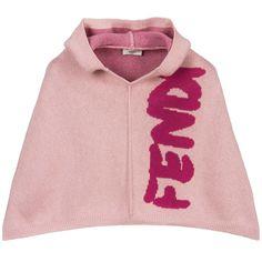 Girls Pink Hooded Cape, Fendi, Girl