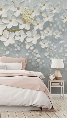 Create a beautiful bedroom with this fabulous decor idea. Team a pale pink bed with this butterfly tree wallpaper and give yourself a relaxing bedroom #bedroomidea #bedroomdecor