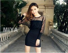 Mesh fitted dress - 64021  USD $11.90