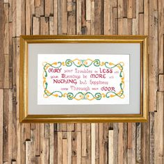 Beautiful hand embroidered Irish blessing sampler set in a stylish gold washed wooden frame. Lavender Sachets, Irish Blessing, Irish Traditions, Gold Wash, Unique Gifts, Handmade Gifts, New Baby Gifts, New Baby Products, Personalized Gifts