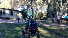 One of Dexter's runs on the flying fox, in his wheelchair. Video on the website. No limits!