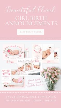 Girl Birth Announcement Template   Girl Newborn Card   Photo Baby Card   Floral Birth Announcement Newborn Birth Announcements, Birth Announcement Template, Birth Announcement Girl, Baptism Invitations, New Baby Girls, Baby Cards, Photo Cards, Holiday Cards, New Baby Products