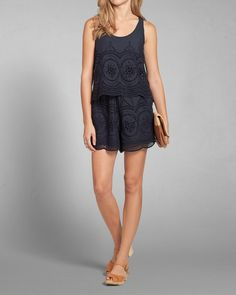 Womens Eyelet Lace Tiered Romper | Womens Last Chance Summer Dresses | eu.Abercrombie.com