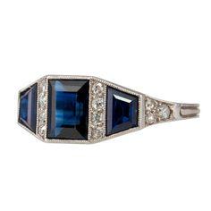 1930's sapphire and diamond ring