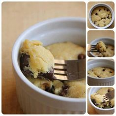 Deep dish cookie for one! Yum!!! 1 tbsp. Butter, melted 1 tbsp. White sugar 1 tbsp. Brown sugar 3 drops of vanilla Pinch of salt 1 egg yolk 1/4 c flour 2 tbsp. Chocolate chips Microwave 40-60 seconds in a cup or bowl