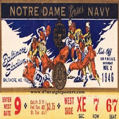 1946 #NotreDame vs. #Navy Football Ticket Coasters.™ Best Cyber Monday Deals 2013! $29.99 for a set of four ceramic coasters! #stockingstuffers #CyberMonday #CyberMondayDeals #CyberMondaygifts #Christmas #collegefootball #football #sports #gifts #giftideas #47straight