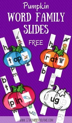 Classroom Freebies Too: Halloween Pumpkin Word Family Slides