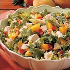 Lime dressing gives lively flavor to this crunchy salad tossed with peaches, peppers and peanuts. The unusual combination is a great way to use up leftover chicken or turkey and packs well for lunches or picnics. It's also terrific with the addition of grapefruit sections or pineapple tidbits. -Diane Halferty, Corpus Christi, Texas