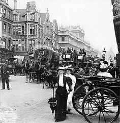 """A Busy Day in Piccadilly"" -  Piccadilly, Westminster, London, 1900s"