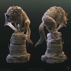 ArtStation - The Great Grey Wolf - Sif (Dark Souls) Printed Statue, Tushank K. Imprimente 3d, Sif Dark Souls, Papercraft Anime, Fantasy Creatures, Werewolf, Wood Carving, Game Art, Sculpture Art, Sculpting