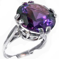 Solid Sterling Silver Womens Large 14mm Synthetic Alexandrite Vintage Solitaire Cocktail Ring - Size 6 - Finger Sizes 4 to 12 Available - Perfect gift for Anniversary, Engagement, Wedding, First Child LetsBuySilver http://www.amazon.com/dp/B00C24416Q/ref=cm_sw_r_pi_dp_weCKub04P6A8K