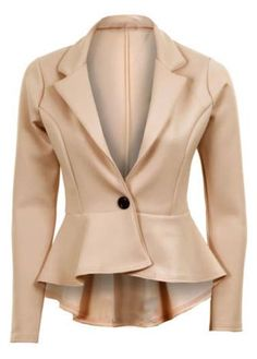 Trendy High Low Hem One Button Closure Beige Suits
