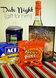 Date Night gift, include a favorite movie, candy, and popcorn. Wrap and number each gift so they can unwrap the date in order.