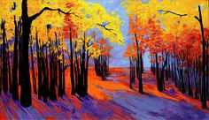 Autumnal Landscape Painting, Forest Trees at Sunset Canvas Print / Canvas Art by Patricia Awapara Fine Art Amerika, Canvas Art, Canvas Prints, Painting Canvas, Sunset Canvas, Daily Painters, Original Art For Sale, Watercolor Bird, Landscape Paintings