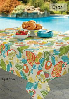 BENSON MILLS CAPRI SPILL PROOF INDOOR AND OUTDOOR TABLECLOTH - LIGHT CORAL