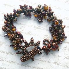 Bronze Seed Bead Bracelet  Drapey Vine In Autumn by beadmask, $45.00