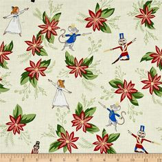 Michael Miller Nutcracker Metallic Nutcradker Floral Cream from @fabricdotcom  Designed by Sarah Jane for Michael Miller, this cotton print fabric features beautiful flowers and the nutcracker fighting off the mouse. Perfect for quilting, apparel and home decor accents. Colors include cream, white, nude, black, peach, blue, grey, light grey, brown, yellow and shades of red and green.