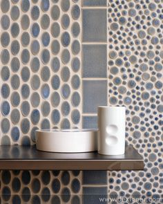 "Playfully Modern - Vibe Oval, 3""x4"" Field and Andy Mosaic in Shadow Blue"
